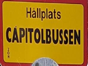 Capitolbussen skylt